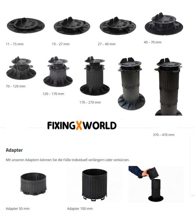QuickFix Terrassenlager von 11 - 570mm justierbar
