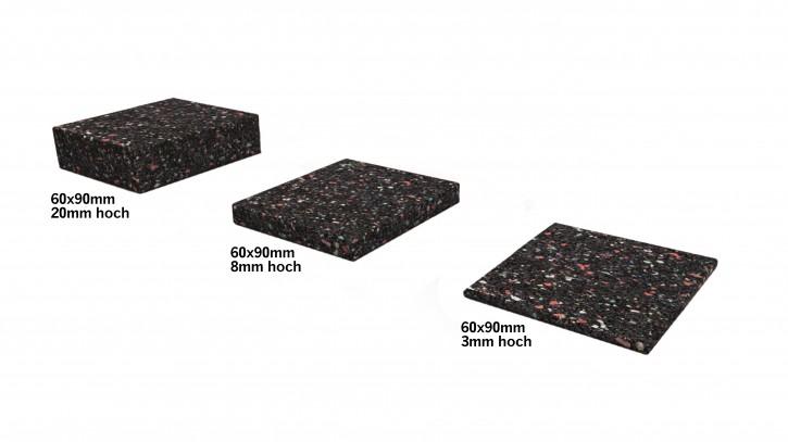 Gummi Granulat Unterleger 90x60mm 3mm, 8mm oder 20mm