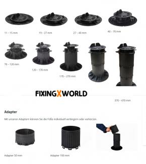 QuickFix Terrassenlager justierbar Aufbauhöhe von 27 – 40 mm